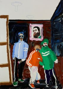 Self-portrait in the studio with the Beastie Boys, painting James Drinkwater for the Archibald Prize (Los amigos)
