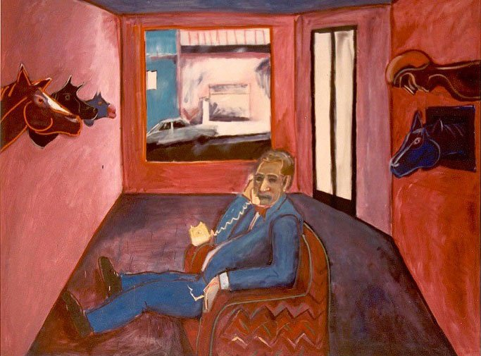 AGNSW prizes Arthur Leeds Schmidt Ray Hughes in his gallery, from Archibald Prize 1985