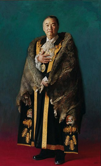 AGNSW prizes Jiawei Shen John So, the Lord Mayor of Melbourne, from Archibald Prize 2005