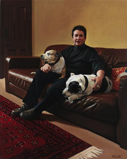 AGNSW prizes Peter Smeeth Clover Moore with Sheba and Bruno, from Archibald Prize 2006