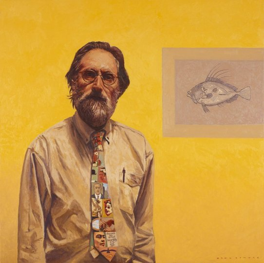 AGNSW prizes Greg Somers Self-portrait with the picture of dory in grey, from Archibald Prize 2010