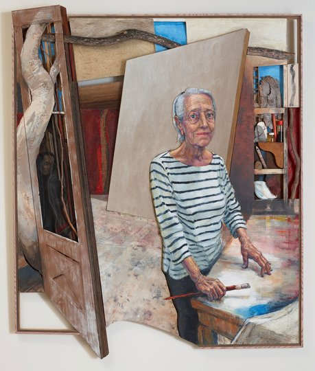 AGNSW prizes Noel Thurgate Elisabeth Cummings in her studio at Wedderburn, 1974 and 2018, from Archibald Prize 2018