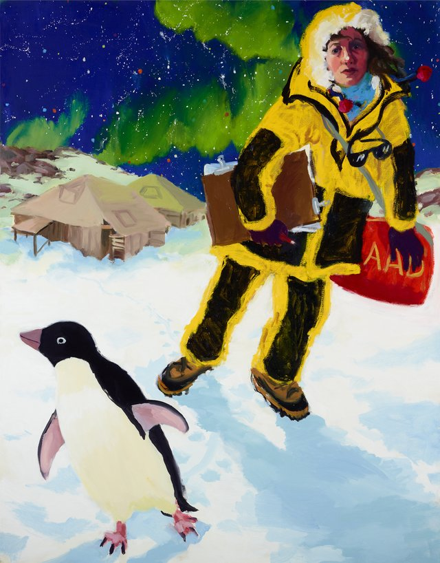Self-portrait in Antarctica with penguin and Mawson's huts