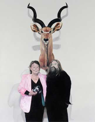AGNSW prizes Michael Zavros Portrait of Stephen Mori, with Win Schubert and my Greater Kudu, from Archibald Prize 2004
