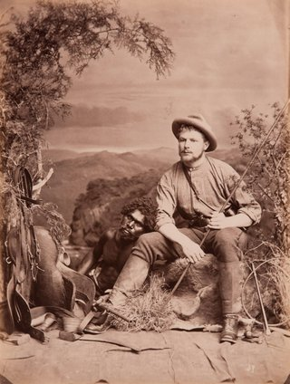 **JW Lindt** *No 37 Bushman and an Aboriginal man* 1873, albumen photograph, Grafton Regional Gallery Collection, Grafton, gift of Sam and Janet Cullen and family 2004