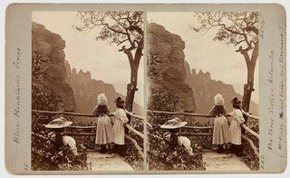 **Ernest B Docker** *The Three Sisters Katoomba – Mrs Vivian, Muriel Vivian and Rosamund 7 Feb 1898*, stereograph, Macleay Museum, The University of Sydney