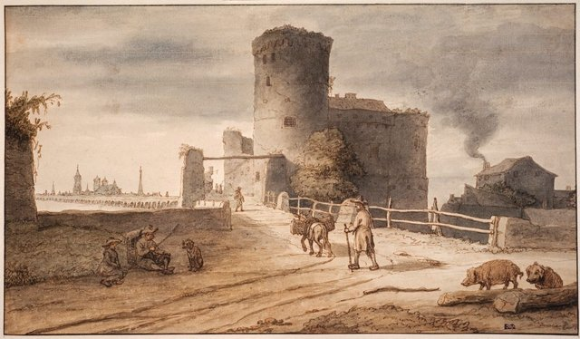 Lambert Doomer *Castle Pirmil outside Nantes* c1671, pen, brown ink and watercolour