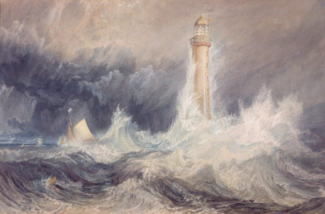 Joseph Mallord William (JMW) Turner *The Bell Rock Lighthouse* 1819, watercolour and gouache with scratching out on paper