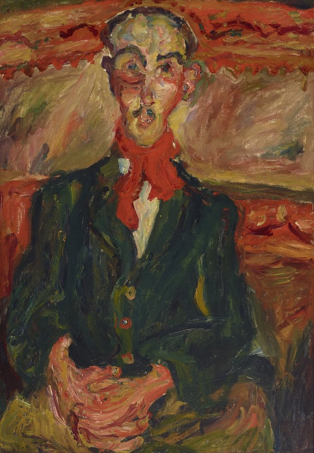 Chaim Soutine *Man in a red scarf (L'homme au foulard rouge)*, The Lewis Collection © the artist, licensed by Viscopy, Sydney.