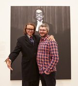 Nigel Milsom (right) with Charles Waterstreet, the subject of his 2015 Archibald Prize winning portrait