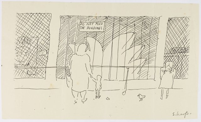 Martin Sharp *Do not feed the buildings*, date unknown, ink on paper, 13.9 x 23.5 cm, Peter Kingston Archive, National Art Archive, Art Gallery of New South Wales © estate of the artist, licensed by Viscopy, Sydney