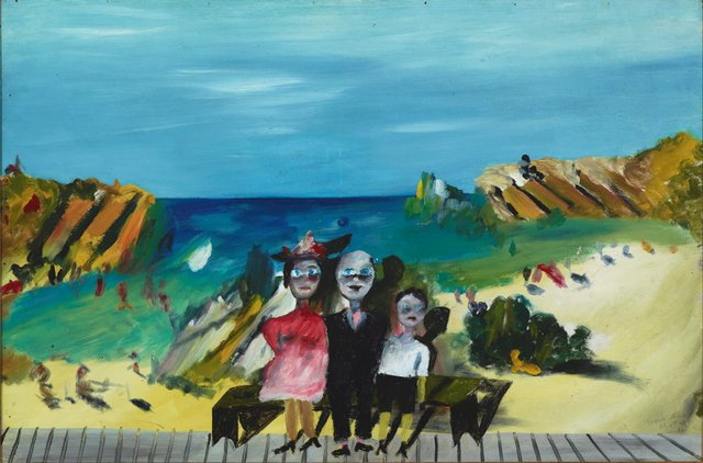 Sidney Nolan *Giggle Palace* 1945. On loan from the Nelson Meers Foundation  *Luna Park in Melbourne was part of my kitsch heaven as a boy. After I left the army, like a lot of others, I tried to recapture things, to see things again, to re-experience them.* - Sidney Nolan 1978  Nolan grew up in the Melbourne beachside suburb of St Kilda, a popular weekend destination with a Luna Park fairground, swimming baths and long promenade. In *Giggle Palace*, he invokes childhood memories of Luna Park, picturing himself with his parents in front of a painted beachside backdrop in a sideshow photographer's studio. Nolan drew on the ambiguity and visual pun of this 'painting within a painting' that too suggests the funfair's play on reality and illusion.  The work was painted at a time when Nolan was in hiding after having deserted the army, and his memories of childhood pleasures seemed to serve as a creative antidote to his present traumas. His Ripolin-enriched palette and faux-naive style imbue *Giggle Palace* with the dream-like quality of childhood visions.