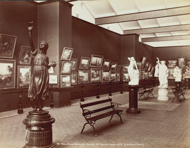 The watercolour court at the Art Gallery of NSW in about 1888. John Horbury Hunt's suite of galleries or 'courts' was replaced by the imposing late-Victorian interiors designed by Walter Liberty Vernon, which opened in stages between 1897 and 1901. Image from Art Gallery of NSW Archive
