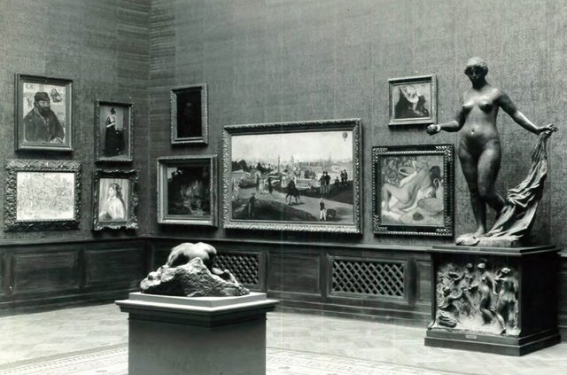 National Gallery Oslo, Venners sal 1924, showing Courbet's Landscape with stag in far left corner. Image courtesy of the National Gallery Oslo.