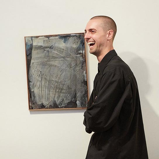 Jack Lanagan Dunbar with his Brett Whiteley Travelling Art Scholarship 2019 winning work *Hades* 2019