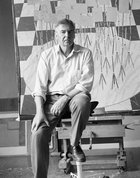 John Brack in his Surry Hills studio, 1988, by Robert Walker © Estate of Robert Walker. Source: Art Gallery of New South Wales Archive