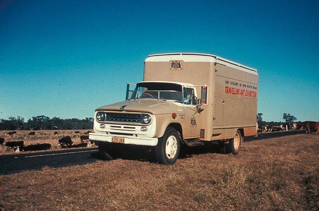AGNSW Travelling Art Exhibition truck outside Walgett, 1977. National Art Archive   Art Gallery of NSW