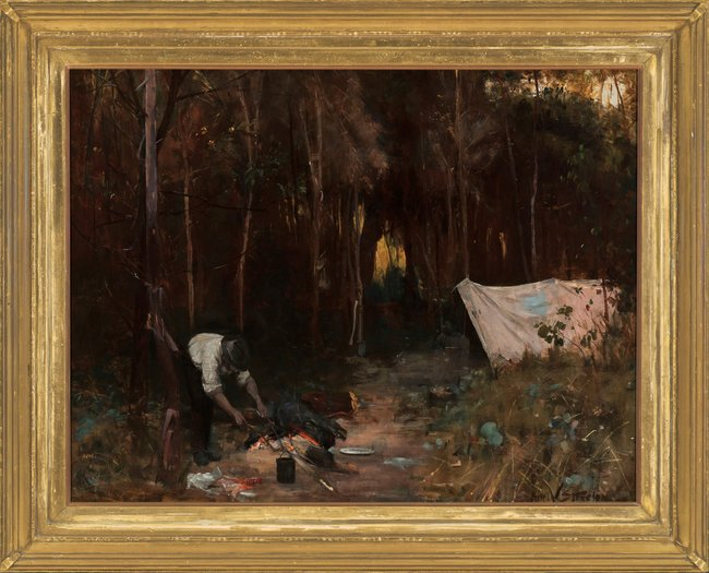 PRIVATE COLLECTION Arthur Streeton *Settler's camp** 1888