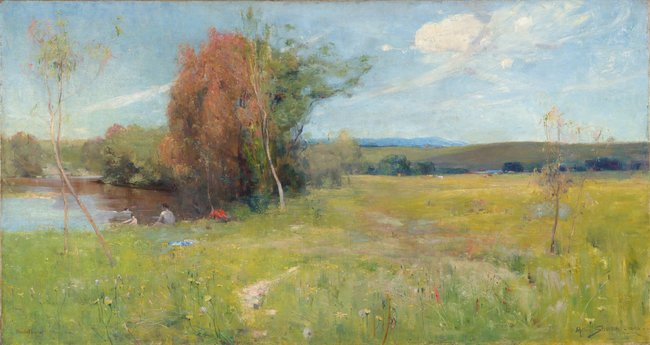 NATIONAL GALLERY OF VICTORIA COLLECTION Arthur Streeton *Spring* 1890 (detail)  Arthur enjoyed adding small details into paintings. Can you spot the cicada in this landscape?   Draw or paint outdoors and see what interesting details from nature you can add to your artwork.