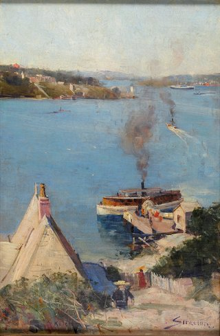 NATIONAL GALLERY OF AUSTRALIA COLLECTION Arthur Streeton *From McMahon's Point — fare one penny* 1890  There us a lot happening in this harbour scene.   Can you spot a cat and a boy with a toy yacht?   How many birds can you count swirling over the harbour?   Create your own busy artwork with lots of things for people to spot and count.