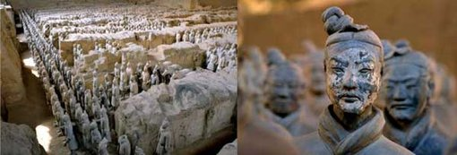 Two views of Qin Shihuang tomb complex