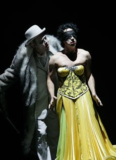 Eddie Perfect and Paul Capsis in The Threepenny Opera