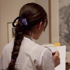Student viewing an artwork