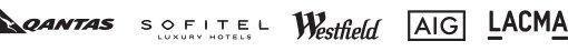 Logos of Qantas, Sofitel, Westfield, AIG, LACMA