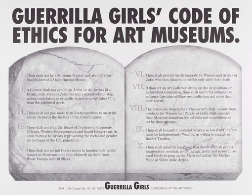 Guerrilla Girls' code of ethics for art museums