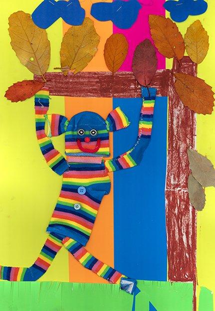 Brightly coloured striped monkey