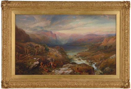Thomas Miles Richardson Jr's artwork Evening, Loch A'an, Grampians, Aberdeenshire