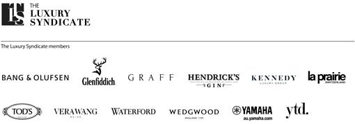 The Luxury Syndicate logo. The Luxury Syndicate members logos: Bang & Olufsen, Glenfiddich, Graff, Hendrick's Gin, Kennedy, La Prairie Switzerland, Tod's, Vera Wang, Waterford, Wedgwood, Yamaha, YTD