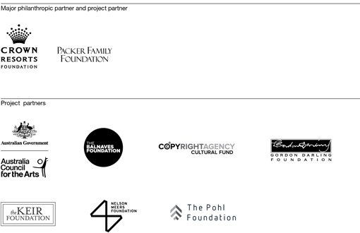 Grants logo. Grants sponsors and partners logo: Crown Resorts, Packer Family Foundation, Australian Government, Australia Council for the Arts, The Balnaves Foundation, Copyright Agency Cultural Fund, Gordon Darling Foundation, The Keir Foundation, Nelson Meers Foundation, The Pohl Foundation