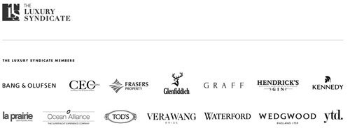 The Luxury Syndicate logo. The Luxury Syndicate members logos: Bang & Olufsen, CEO Magazine, Frasers Property, Glenfiddich, Graff, Hendrick's Gin, Kennedy, La Prairie Switzerland, Ocean Alliance, Tod's, Vera Wang, Waterford, Wedgwood, YTD