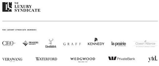 The Luxury Syndicate logo. The Luxury Syndicate members logos: CEO Magazine, Frasers Property, Glenfiddich, Graff, Kennedy, La Prairie Switzerland, Ocean Alliance, Vera Wang, Waterford, Wedgwood, W Private Bank, YTD