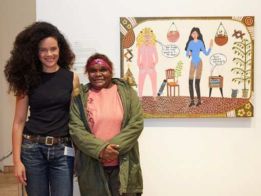 Sulman Prize 2018 judge Angela Tiatia and winner Kaylene Whiskey