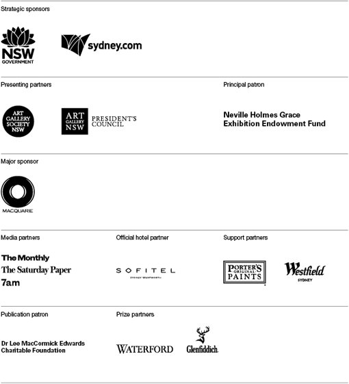 NSW Government, sydney.com, Art Gallery Society NSW, Art Gallery of NSW Presidents Council, Neville Holmes Grace Exhibition Endowment Fund, Macquarie, The Monthly The Saturday Paper 7am, Sofitel, Porter's Original Paints. Westfield Sydney, Dr Lee MacCormick Edwards Charitable Foundation, Waterford, Glenfiddich