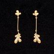 Leaf Drop Earrings : Gold Plate,  - $75.00