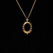 Mirror Pendant Necklace : Gold Plate & Onyx,  - $40.00