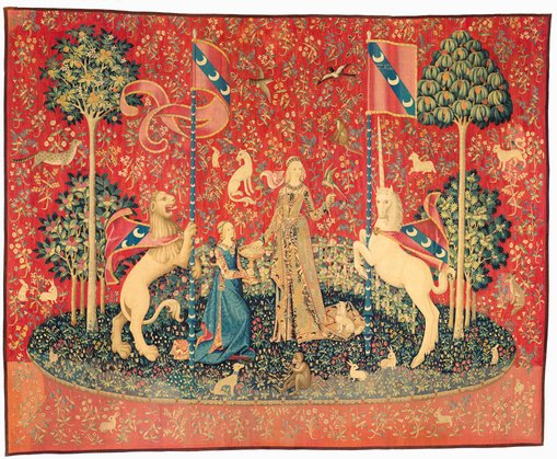 Taste c1500 from the series The lady and the unicornwool and silk377 × 466 cmMusée de Cluny – Musée national du Moyen Âge, ParisPhoto © RMN-GP / Musée de Cluny – Musée national du Moyen Âge / M Urtado