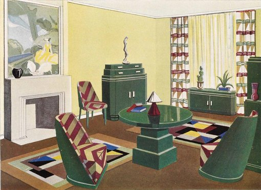 Hera Roberts' impression of her room for The Burdekin House exhibition, advertisement for Beard Watson, The Home, October 1929, courtesy HHTNSW