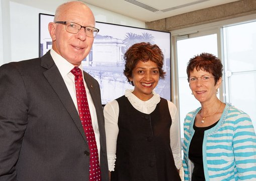Left to right:  His Excellency General The Honourable David Hurley AC DSC (Ret'd), Governor General of NSW; Ms Tina Brand; Ms Linda Hurley  Sydney Modern event, February 2016