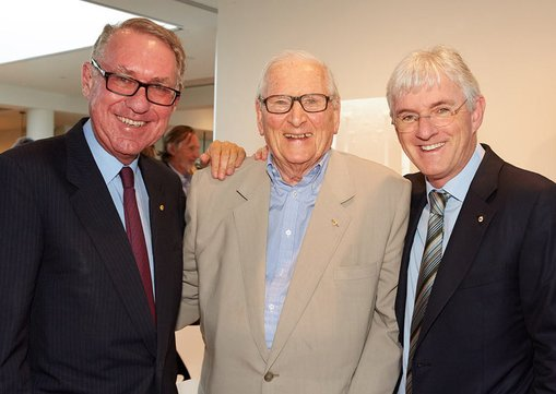 Left to right:  	David Gonski AC, President of the Art Gallery of NSW Board of Trustees with former Trust presidents Michael Gleeson-White AO and Steven Lowy AM  	Sydney Modern Project event, February 2016