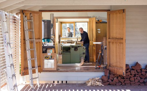 A view into David Butler's framing studio. The machine in the middle is a combination table saw and planer and thicknesser.