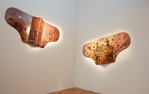 Alwin ReamilloPhilippines, b1964  Republika oligarkiya 2015articulated double piano lids, piano hinges, found objects, lacquer; collageCollection of Aga and Charlene Muhlach  Maragondon 1897, Cabanatuan 1899 2016articulated double piano lids, piano hinges, found objects, lacquer; collageCollection of Serafin Tancuan Pua