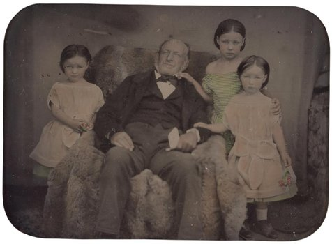 Glaister studio Untitled (portrait of man and three girls) 1855-70ambrotype