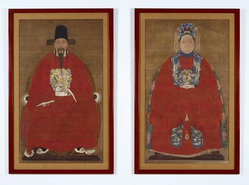 The restored paintings in their new lacquer frames.