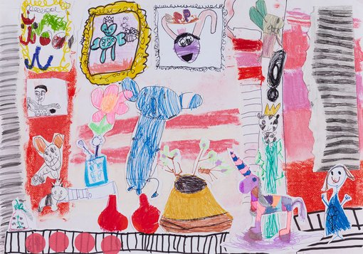 WinnerCoco Flannery age 6Art Gallery of Bunniespencil, crayon, chalk, texture, black marker  	This is a room under my bed and it is full of bunnies. I wake up and I draw bunnies or flowers or unicorns every day, and I put them in my special room. It's like an Art Gallery of Bunnies. I cuddle my rabbits in bed. Cucumber has pointy ears and Zucchini has small ears that are all floppy. If they fall out of bed at night, I know where to find them.
