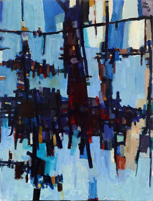 Dry salvages 1956oil on hardboard119 × 90.9 cmArt Gallery of New South WalesGift of Mrs EM Gardiner in memory of her daughter Marie Gardiner 1972© John Olsen. Licensed by Viscopy, Australia
