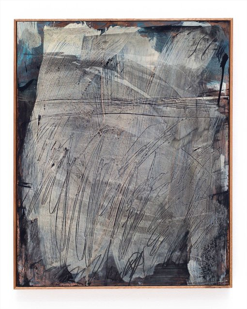 Jack Lanagan Dunbar Age 30, Lewisham, NSWHades 2019 Patina, acrylic paint, vinyl-based paint, chinagraph, lacquer on copper sheet mounted in timber frame, 455×565mmCollection of Suzanne Chee